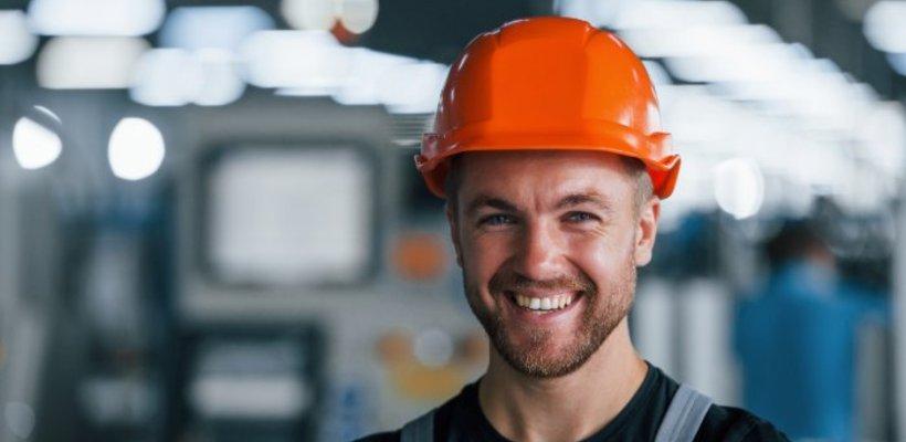 man wearing orange hard hat